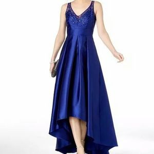 Royal blue Adrianna papell gown high/low, satin.